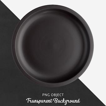 Прозрачная черная керамическая или фарфоровая круглая тарелка