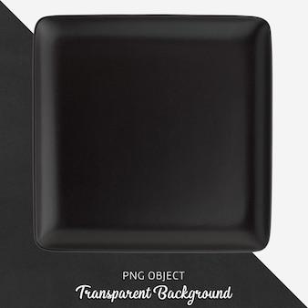Прозрачная черная керамическая или фарфоровая квадратная тарелка