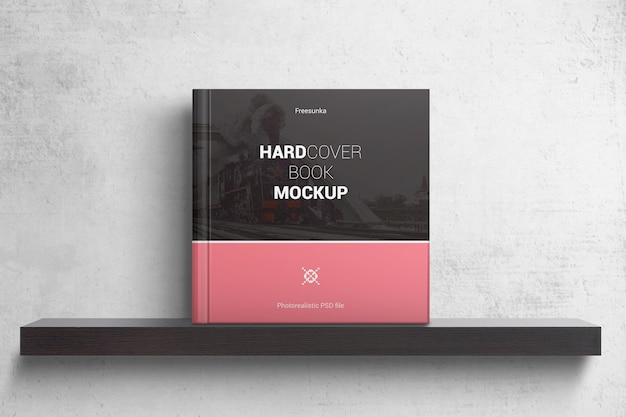 ハードカバーの正方形のブックモックアップ