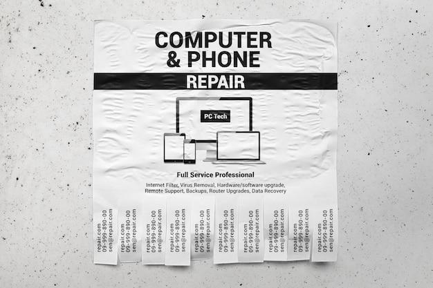Рекламный флаер на макете бетонной стены