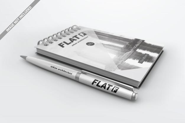 ノートブックモックアップ付きペン
