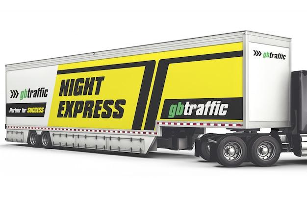 Длинный грузовик, брендинг макет