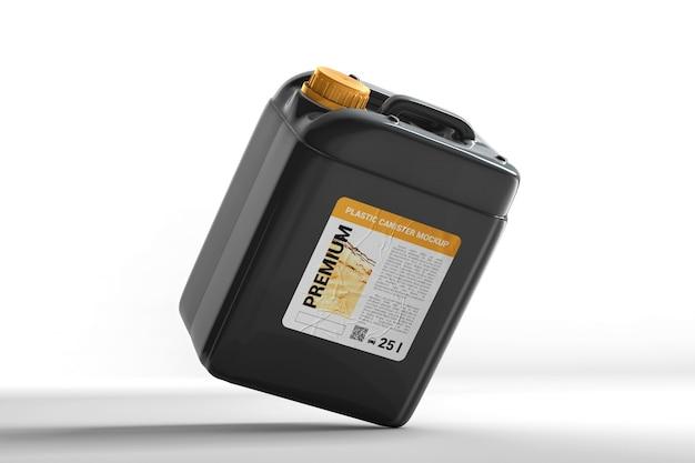 Пластиковая канистра для жидкости с этикеткой в балансе