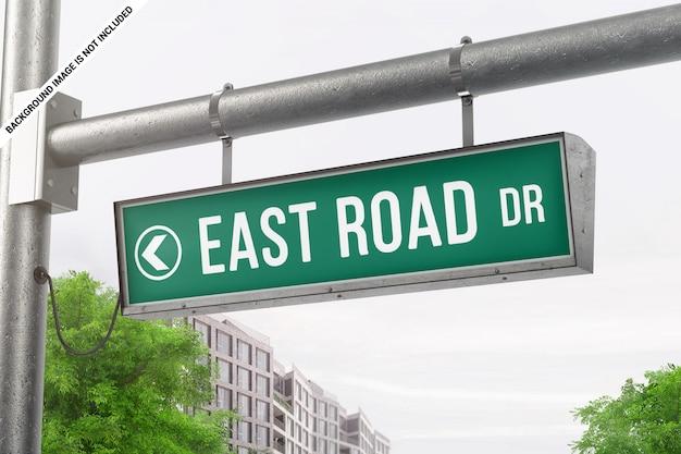 道路標識のモックアップをぶら下げ