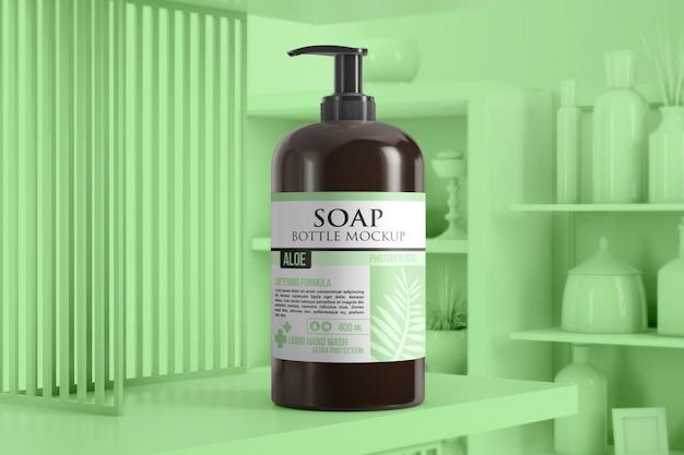浴室の棚のモノクロシーンのモックアップに石鹸のボトル