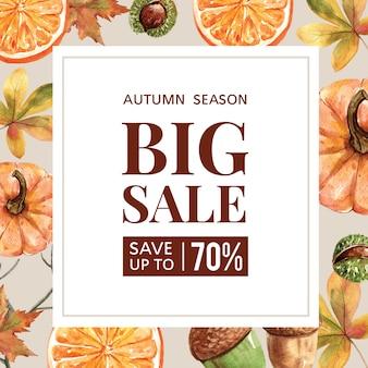 Осенний тематический баннер с рамкой
