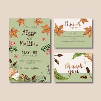 パステルカラーの秋をテーマにした結婚式招待状水彩
