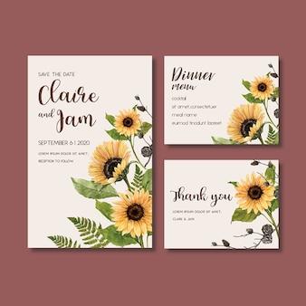 美しいひまわりをテーマにした結婚式招待状水彩