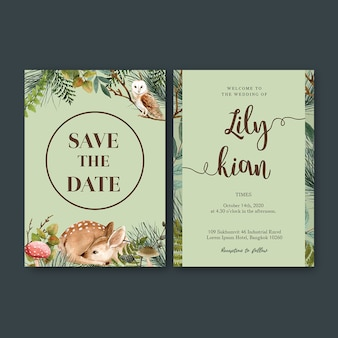 森のクールな色調をテーマにした結婚式招待状水彩画