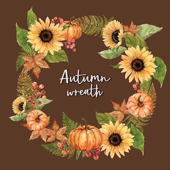 秋のテーマカードと花輪