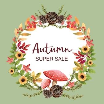 秋のテーマバナーと花輪
