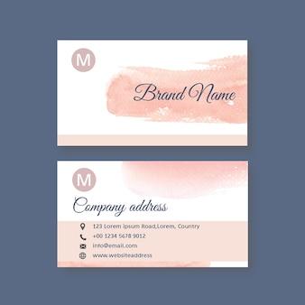 Шаблон визитной карточки с акварельными мазками