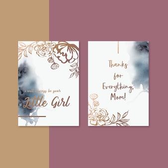 セピア色の花と母の日カード