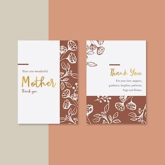 対照的な色の花を持つ母の日カード