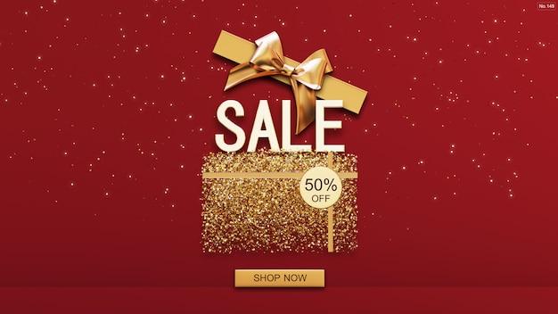 Продажа шрифта с золотой коробкой на красном