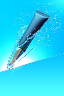 Косметический продукт под водой с брызгами воды