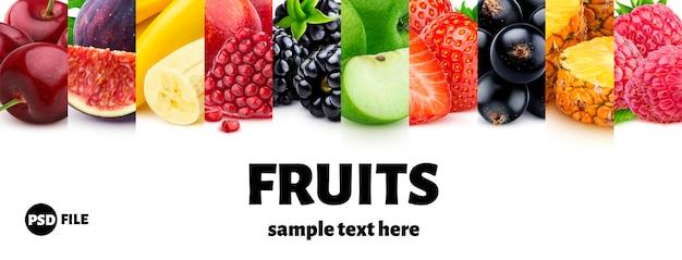 Смешайте пищевые ингредиенты, фрукты и ягоды коллекции