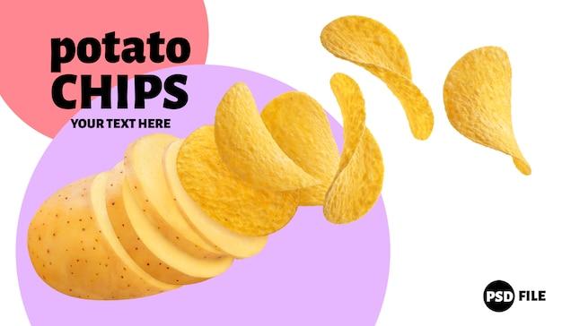 Сырой картофель превращается в летающие картофельные чипсы на белом фоне
