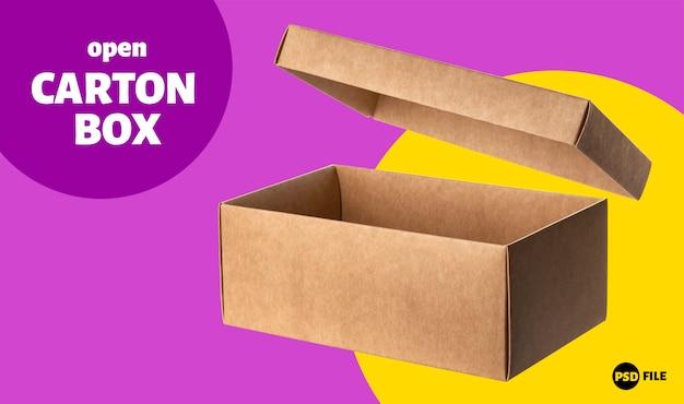 Открытая картонная коробка с баннером