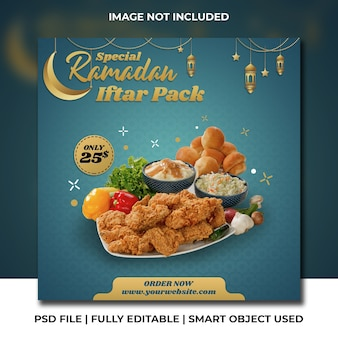 Куриный пакет ресторан рамадан ифтар зеленый голубой премиум инстаграм шаблон