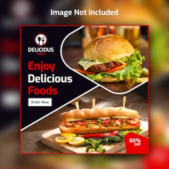 サンドイッチとハンバーガーレストランの正方形バナー