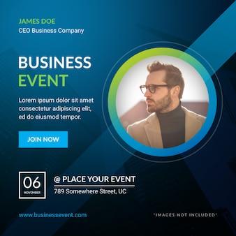 正方形のビジネスイベントのバナーとチラシのデザイン