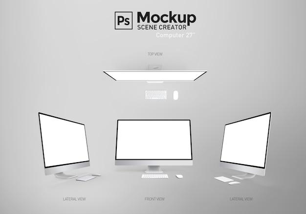 空白の画面を持つコンピューター。シーン作成者。資源。