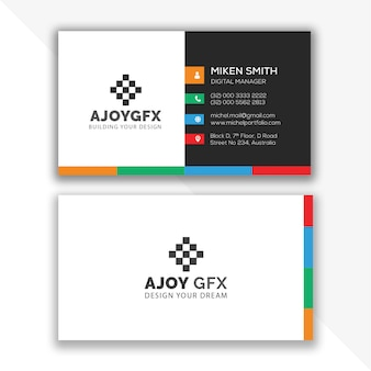 Красочный дизайн визитной карточки шаблон