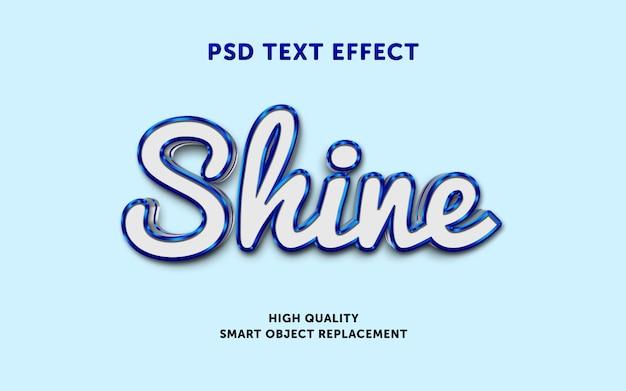 青い光沢のあるアウトラインを使用した編集可能なテキスト効果