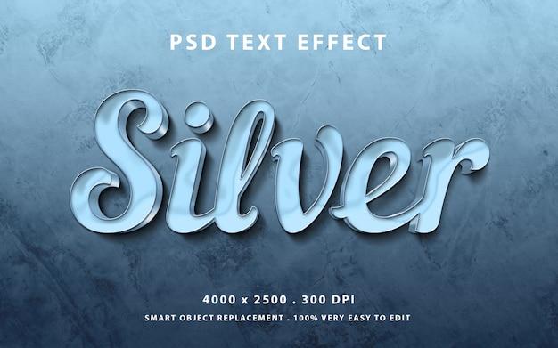 Редактируемый текстовый эффект - серебристый металл глянцевый