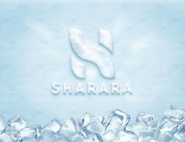 氷のロゴのモックアップ