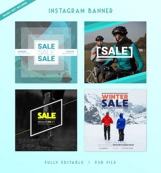 現代販売のインタグラムとソーシャルメディアの投稿バナー