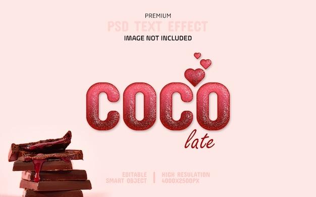 Шаблон редактируемого темного розового шоколада с эффектом текста