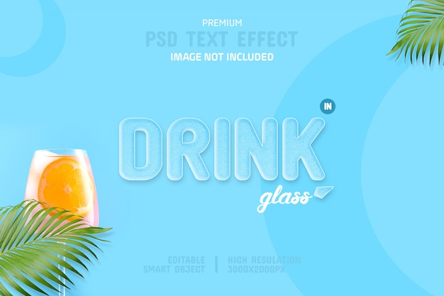 ガラステキスト効果テンプレートで編集可能な夏の飲み物