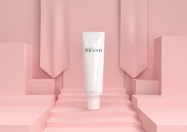 抽象的な背景を持つスキンケア保湿化粧品プレミアム製品。