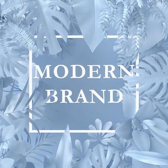 紙カードメモを持つ植物で作られたクリエイティブレイアウト青い色。自然のコンセプト