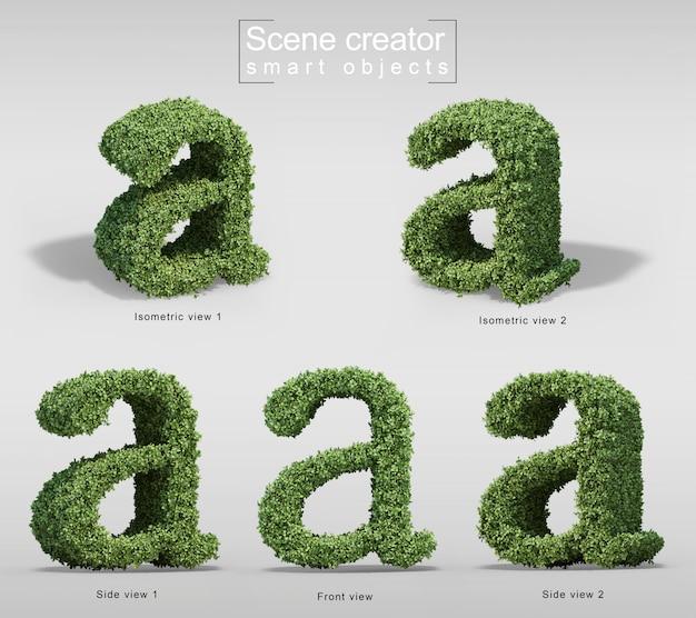 手紙aの形の茂みの3 dレンダリング