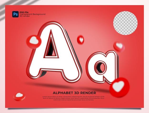 요소와 알파벳 3d 렌더링 붉은 색
