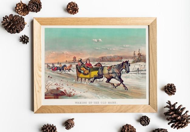 Рисунок рисования салазок в зимней картине