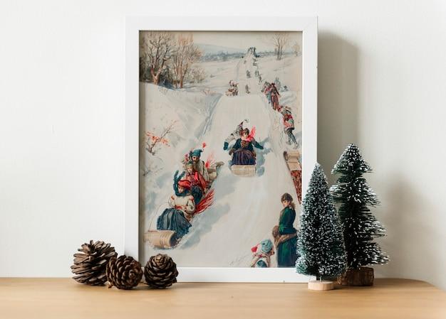겨울 사진에 썰매의 손을 그리기 그림