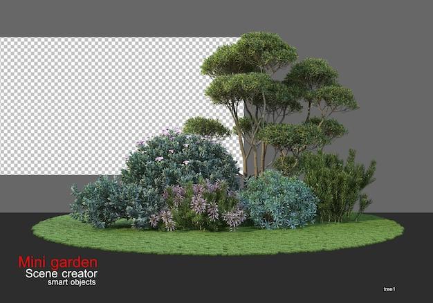 다양한 나무가 있는 작은 정원