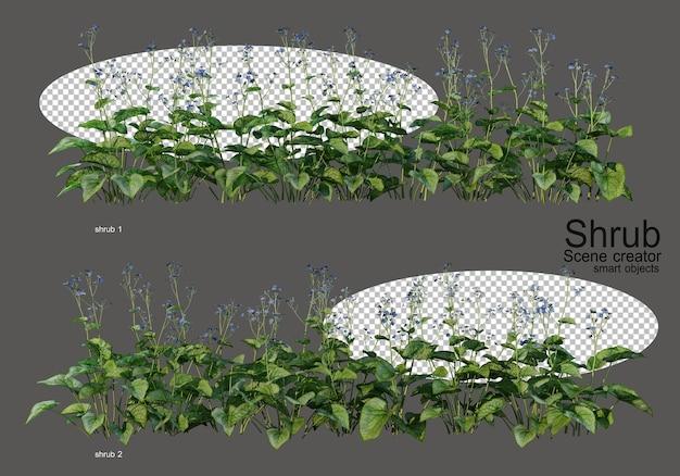 다양한 관목과 꽃 프리미엄 PSD 파일