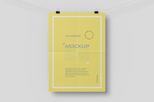 A1 poster mockup with a folding effect