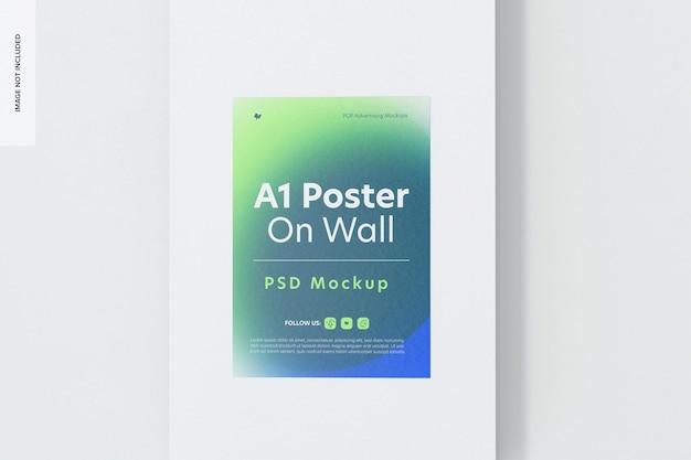 벽 목업에 a1 포스터, 전면 보기