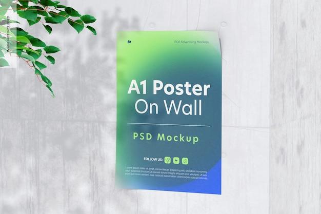 벽 목업에 a1 포스터, 오른쪽 보기
