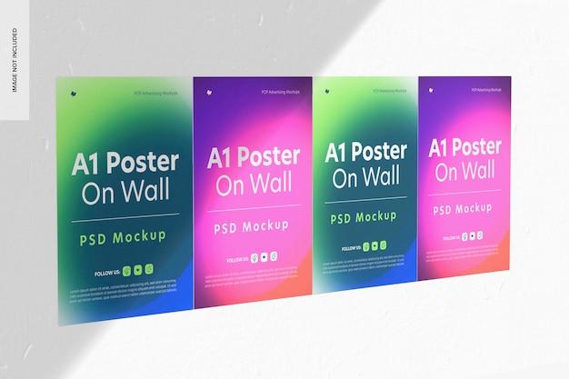 Poster a1 su mockup a parete, vista da sinistra