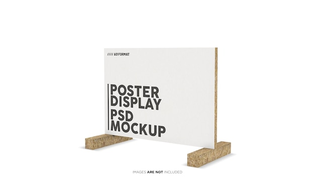 A3 format horizontal poster display psd mockup