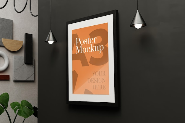 A3 poster mockup on black wall