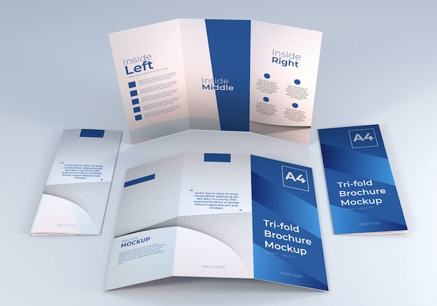 プレゼンテーションのためのシンプルなミニマリストa4 3つ折りパンフレット紙モックアップデザインテンプレート