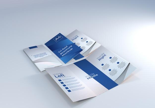 プレゼンテーション用a4 3つ折りパンフレット紙モックアップ